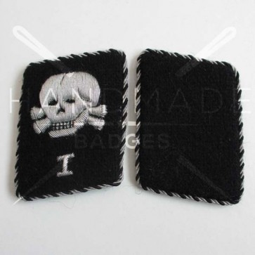 WW2 GERMAN SS TOTENKOPF COLLAR TABS WITH I NUMERAL