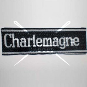 WW2 GERMAN ARMY CHARLEMAGNE WOVEN SS ARMBAND CUFF TITLE