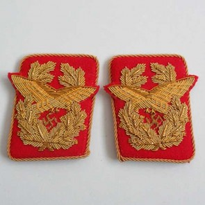 WW2 GERMAN ARMY GENERALOBERST FLAK COLLAR TABS IN GOLDEN BULLION WIRE