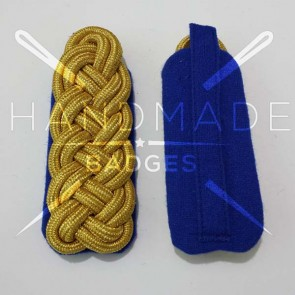 WW2 GERMAN ARMY GOLD BRAID MAJOR SHOULDER BOARDS ON BLUE