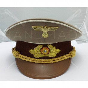 WW2 GERMAN ARMY STURMABTEILUNG OFFICER CAP WHITE PIPING