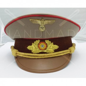 WW2 GERMAN ARMY STURMABTEILUNG OFFICERS CAP RED PIPE