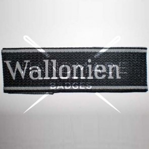 WW2 GERMAN ARMY WALLONIEN SS WOVEN ARMBAND CUFF TITLE