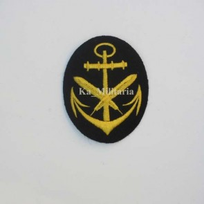 WW2 GERMAN KRIEGSMARINE WRITER BADGE ON NAVY BLUE FELT